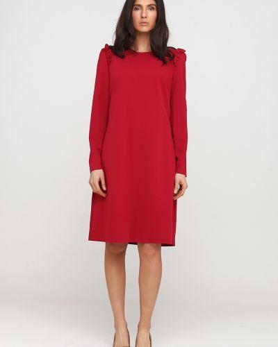 Прямое розовое платье макси с круглым вырезом Nife