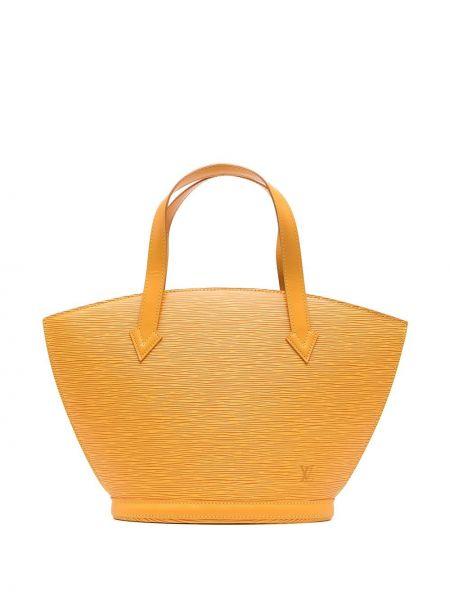 Желтая кожаная сумка-тоут винтажная Louis Vuitton