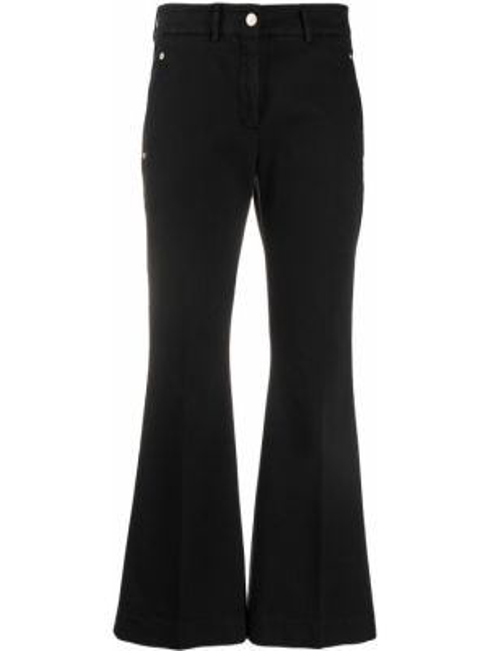 Расклешенные черные укороченные брюки с карманами Incotex