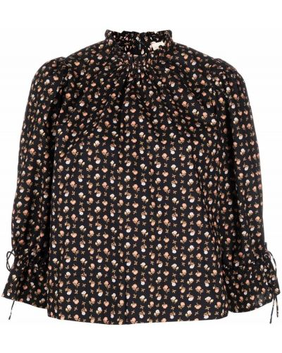 Czarna bluzka w kwiaty Bytimo
