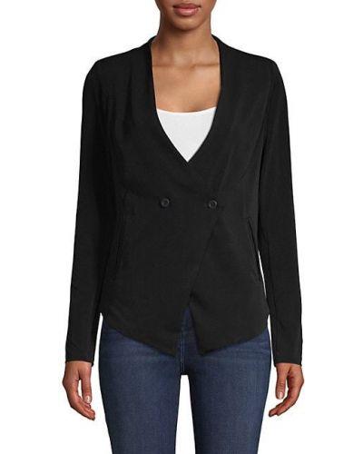 С рукавами черная длинная куртка двубортная Bcbgeneration