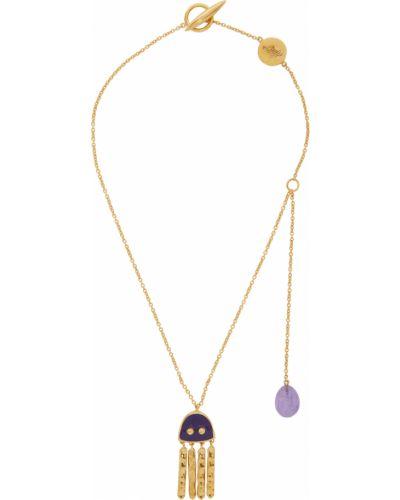 Fioletowy złoty naszyjnik łańcuch Loewe