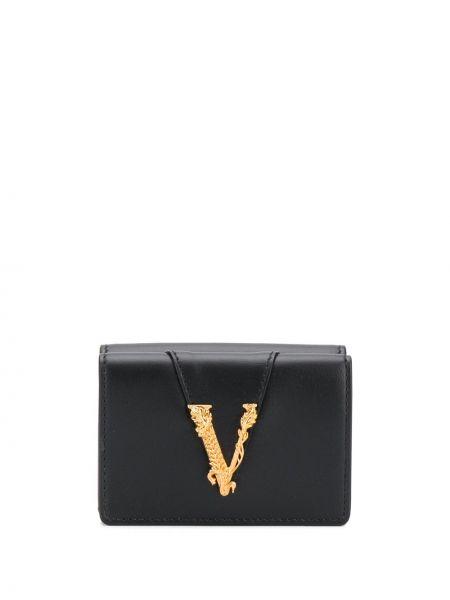 Домашний черный кожаный кошелек для монет Versace