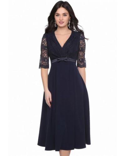 Коктейльное платье осеннее синее Grey Cat