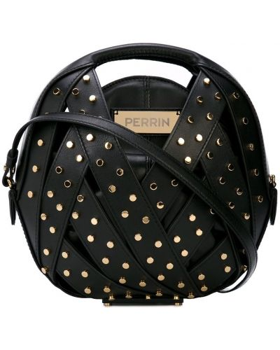 Черная сумка на плечо круглая с заклепками Perrin Paris