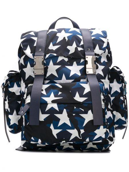 Niebieski plecak skórzany klamry Valentino