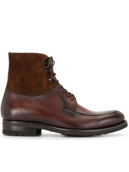 Кожаные коричневые ботинки на шнуровке Magnanni