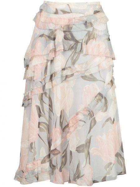 Шелковая серая юбка миди с оборками в рубчик Jason Wu Collection