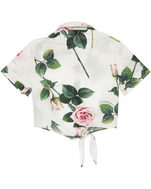 Biała klasyczna koszula krótki rękaw bawełniana Dolce And Gabbana