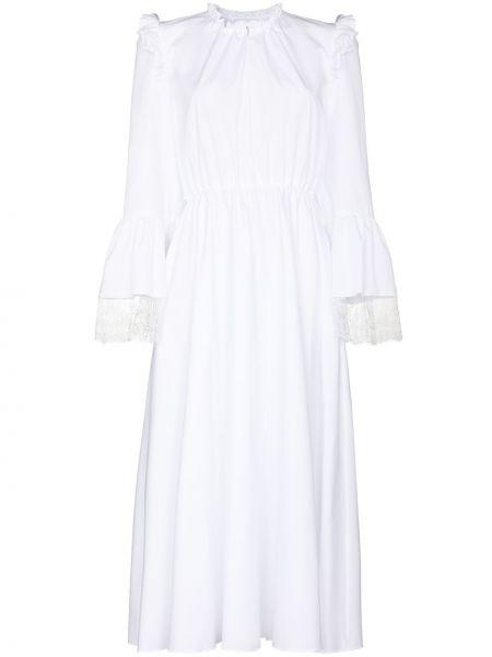 Кружевное белое платье миди Giambattista Valli