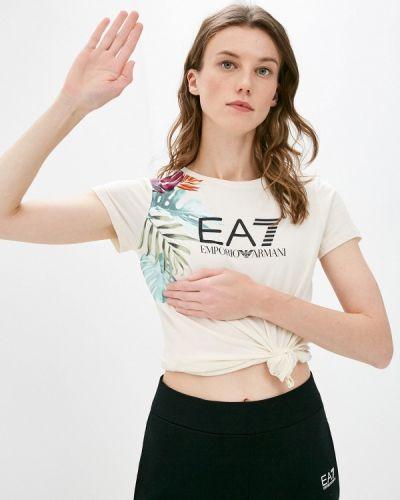 Бежевая футболка с короткими рукавами Ea7
