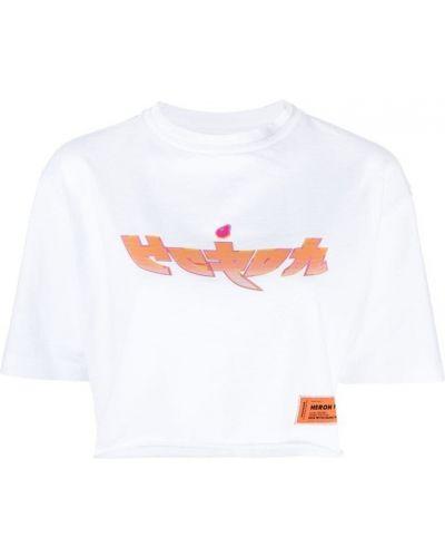 Biały t-shirt bawełniany z printem Heron Preston
