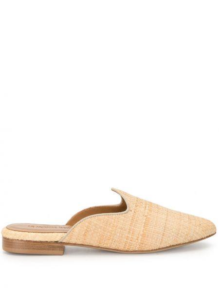 Кожаные коричневые мюли на каблуке без застежки Le Monde Beryl