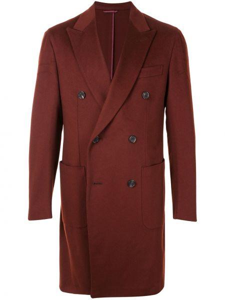 Z rękawami wełniany długi płaszcz z klapami z kieszeniami Brioni