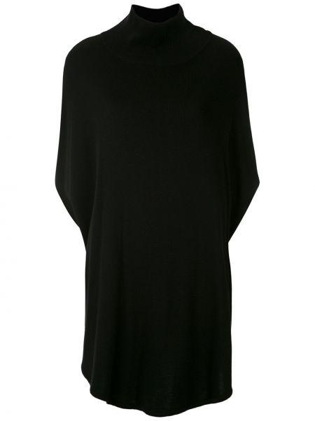 Черная блузка из вискозы с высоким воротником Gloria Coelho