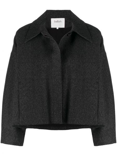 С рукавами черная длинная куртка с воротником Ba&sh