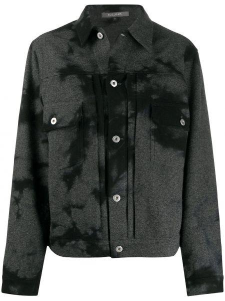 Шерстяная черная куртка с воротником Suzusan