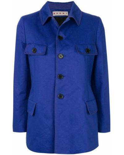 Синяя длинная куртка Marni