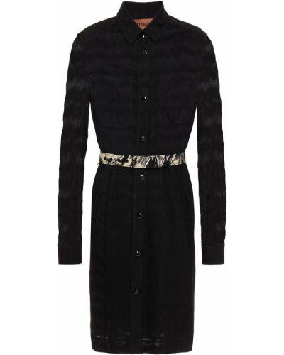 Кожаное платье - черное Missoni