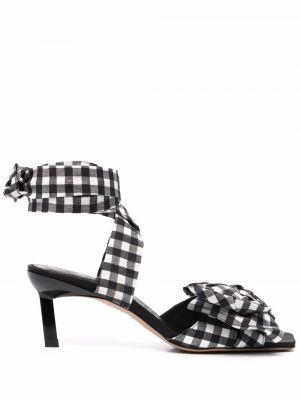 Czarne sandały na obcasie skorzane Ganni