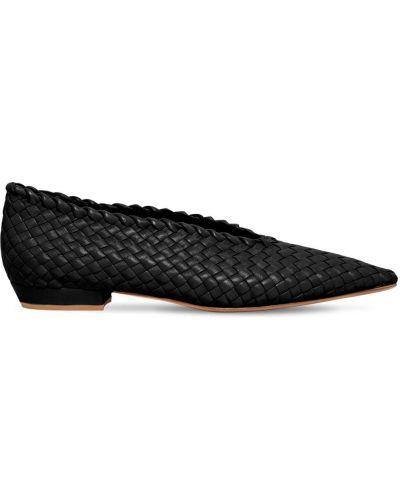Кожаные балетки - черные Bottega Veneta