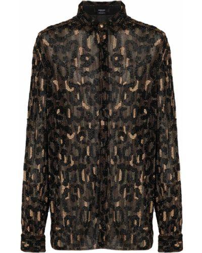 Klasyczna czarna klasyczna koszula z długimi rękawami Versace