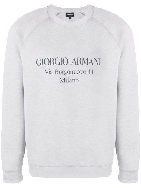 Bluza bawełniana z printem z raglanowymi rękawami Giorgio Armani