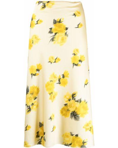 С завышенной талией желтая прямая юбка миди Blumarine