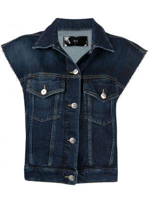 Синяя джинсовая куртка без рукавов с воротником 3x1