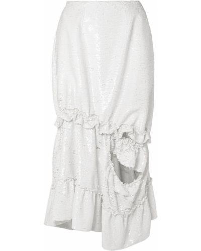 Biała spódnica midi tiulowa z cekinami Simone Rocha