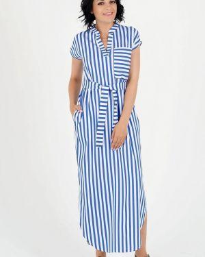 Джинсовое платье с V-образным вырезом с поясом Ajour