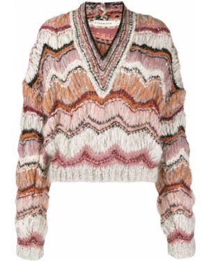 Розовый вязаный свитер из мохера в рубчик Oneonone