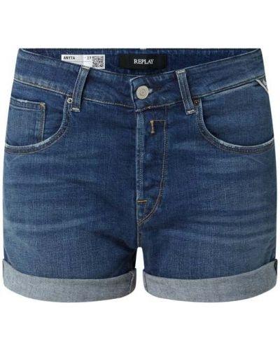 Niebieskie szorty jeansowe bawełniane Replay