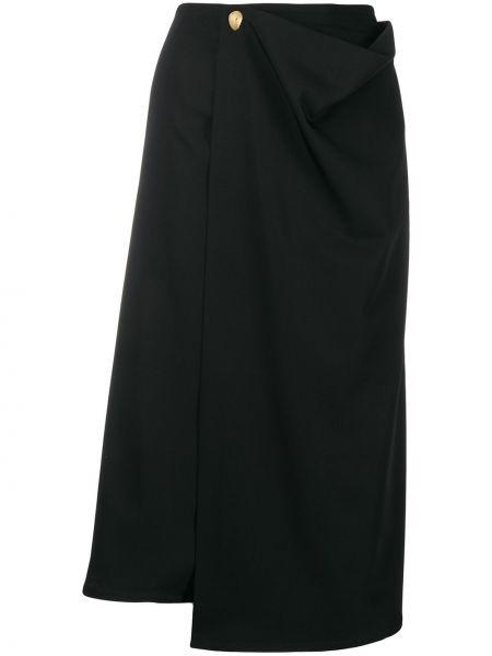 Шерстяная юбка миди - черная Bottega Veneta