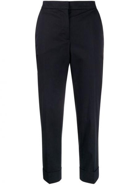 Хлопковые прямые черные укороченные брюки Pt01