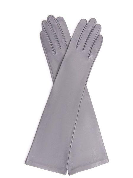 Кожаные перчатки шелковые длинные Sermoneta
