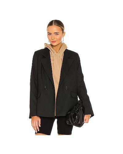 Черный пиджак из габардина с запахом с карманами Anine Bing