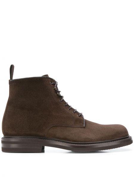 Коричневые кожаные ботинки на шнуровке Green George