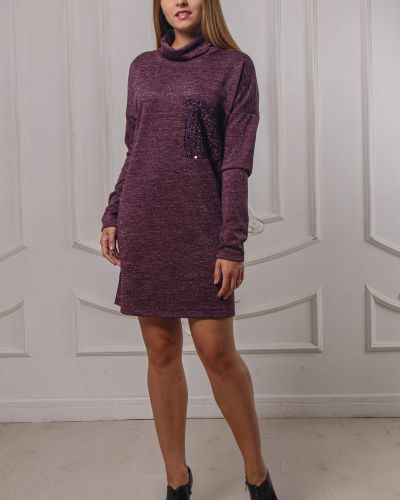 Прямое платье с пайетками с воротником с карманами Lila Classic Style