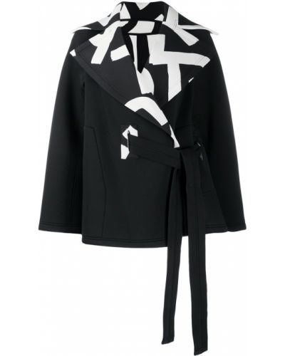 Черное длинное пальто с воротником с запахом Issey Miyake
