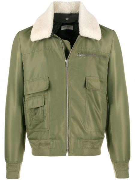 Klasyczny zielony długa kurtka z kieszeniami z długimi rękawami Saint Laurent