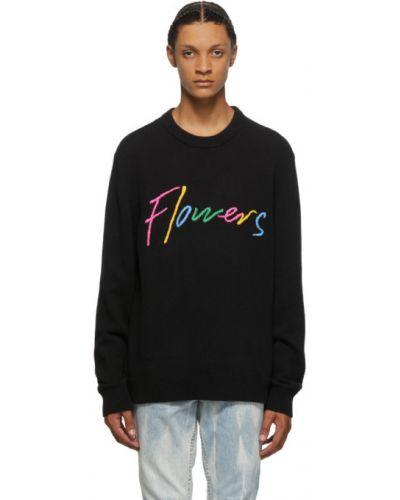 Czarny sweter bawełniany z długimi rękawami Double Rainbouu