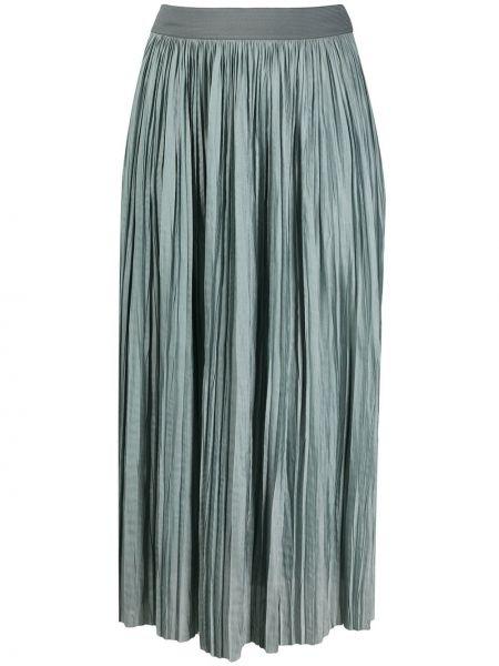 Синяя плиссированная юбка миди с поясом Roberto Collina