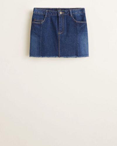 Джинсовая юбка с узором хлопковая Mango Kids