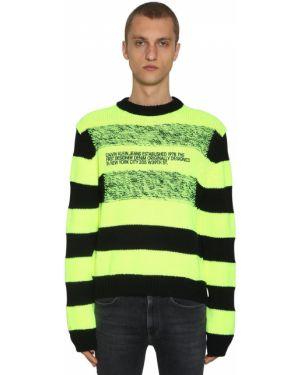 Żółty sweter wełniany w paski Calvin Klein Established 1978