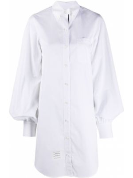 Biała sukienka mini bawełniana Thom Browne