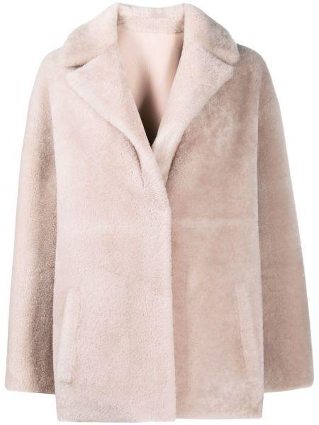 Розовое кожаное длинное пальто двустороннее Blancha