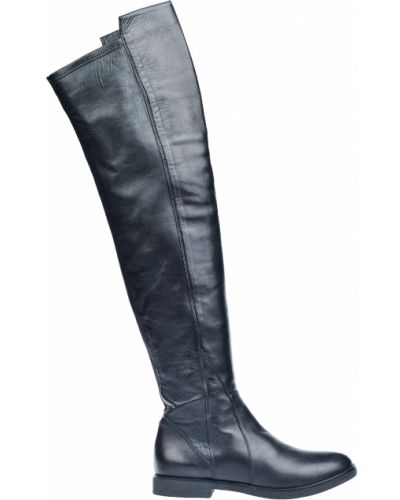 Черные кожаные ботфорты Renzoni