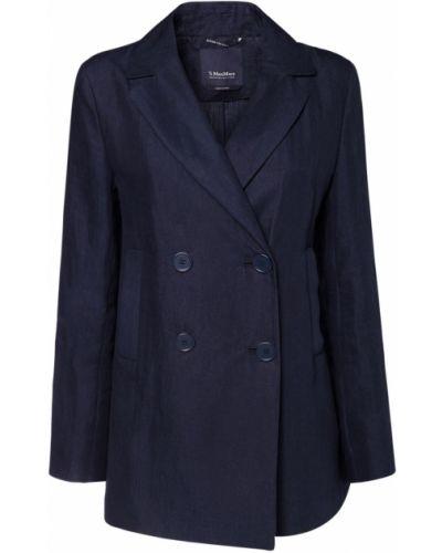 Льняная синяя куртка с карманами 's Max Mara