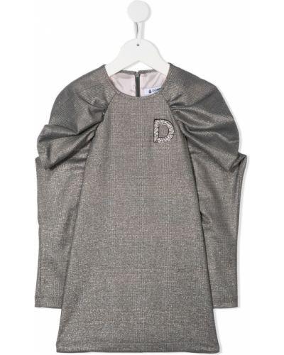 Серебряное платье с рукавами с вырезом эластичное круглое Dondup Kids